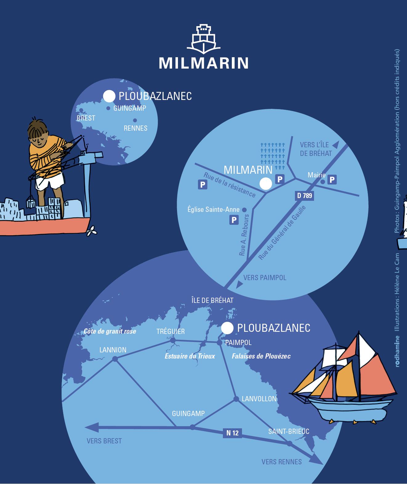 Plan d'accès au musée Milmarin de Ploubazlanec 22